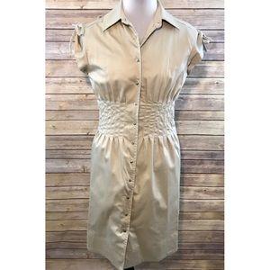 Calvin Klein Khaki Shirt Dress Cap Sleeves 6